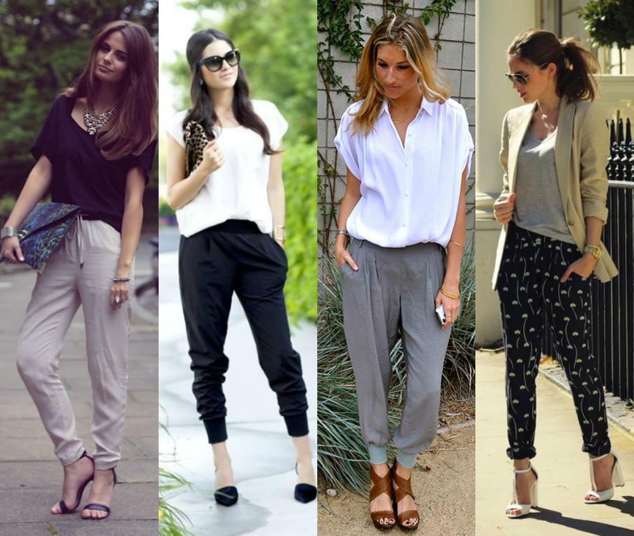 3. Slouchy Harem Trousers   Harem pants are super versatile soft pants, and the drop crotch gives them an edgy look. Very comfortable, and a version of sweatpants that you can actually wear outside. Great for business, brunch, or a night out on the town, with strategic shoe choices. Try with a more fitted top, like a silk halter.