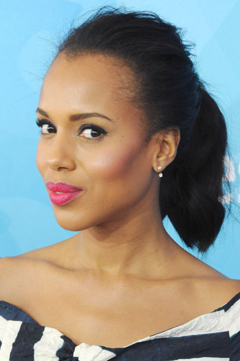 Who:Kerry Washington  What:Pink Streak  How-To:A ponytail and an open neckline put all the focus on your face, so it's important to play up the color. Washington's bright pink lipstick made the first impression, but it was her gorgeously flushed and sculpted cheekbones that held our attention. For a dewy glow, put a drop of face oil on your brush before swirling it in blush and sweeping it from the apples to the temples.  Editor's Pick: NeutrogenaHealthy Skin Blush in Flushed, $8.50, neutrogena.com .  GETTY