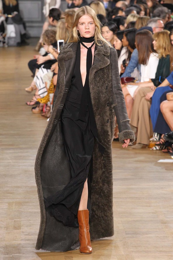 3. Sweep the floor   Chloe Floor-sweeping coats are having a moment. At Chloé flashes of bare leg appeared beneath heavy shearlings and wools; at Dries Van Noten the same went for brocade-embellished evening coats; and at The Row, hammered silk dressing gown coats preserved their wearer's modesty. Forget the mid-length cover-up: ankle-skimming is far more thermally pleasing. Hillier Bartley offer the cosiest.