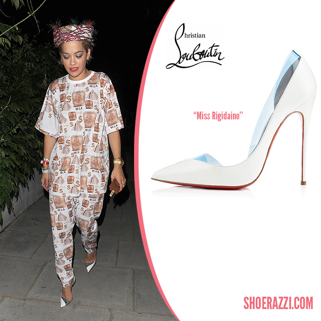 Credit: Will Alexander/Wenn   Rita Ora  was spotted out leaving a studio in London wearing  Christian Louboutin   Miss Rigidaine  d'Orsay pumps. They're from the  Spring 2014 collection  featuring white leather, half d'Orsay design, panels of aquamarine PVC and 120mm heel. We've also seen these beautiful shoes on  Katy Perry ,  Naomie Harris  and  Cate Blanchett . You can find new fall styles at  Neiman Marcus  and  Saks Fifth Avenue .   Outfit Details : W.I.A. Collections  Rich Egipt long tee , matching  crop pants , colorful stripped fuzzy bandeau and Moschino Ice Cream phone case.  Check out more shoes  spotted on Rita .   Designer(s):   Christian Louboutin ,  Style(s):   Pumps    Posted in:   Celebrity ,  Tag(s):   christian louboutin ,  d'Orsay ,  designer heel , Designer Pump ,  designer shoe ,  Designer Shoes ,  London ,  Miss Rigidaine ,  Pump , Rita Ora ,  shoerazzi ,  Spotted ,  Studio