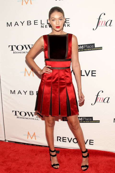 in New York attending the Daily Front Row's Third Annual Fashion Media Awards, dressed in a stunning red Tommy Hilfiger number.  GETTY