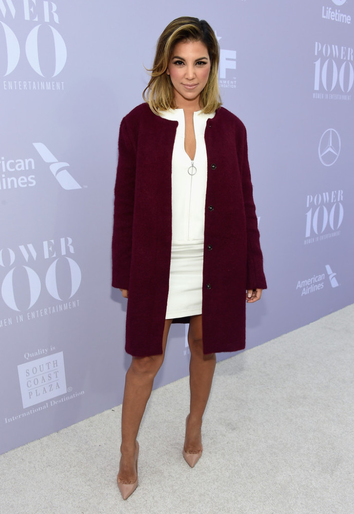Liz Hernandez layered a cozy berry coat over a white zip-front frock—anchored with nude pumps. Hot!  Who had your favorite look at the breakfast?