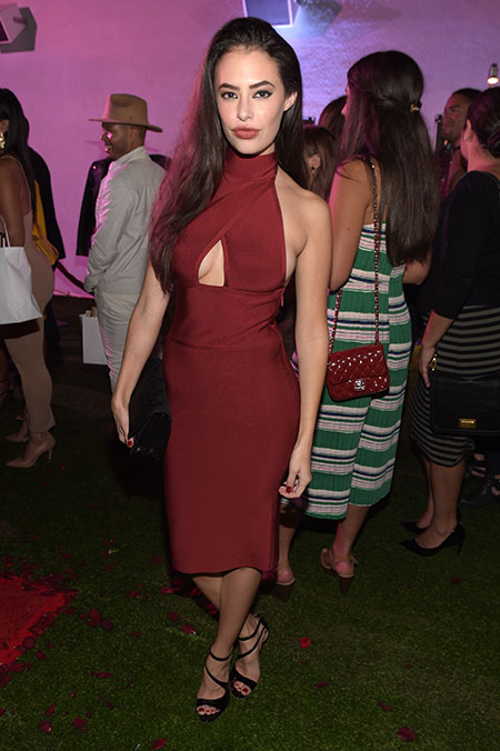 Actress   Chloe Bridges   stole the show (party?) in this va-va-voom red dress.