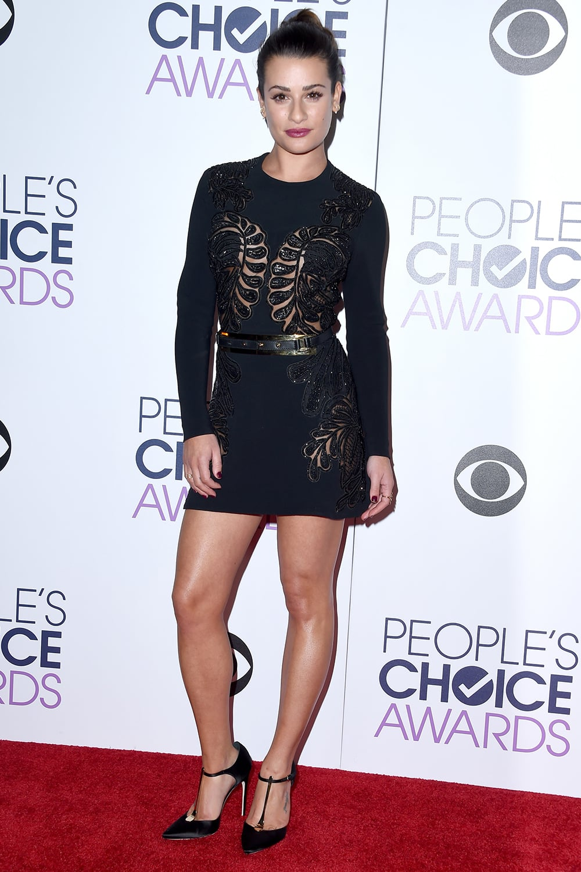 Lea Michele in an Elie Saab mini-dress and Brian Atwood heels