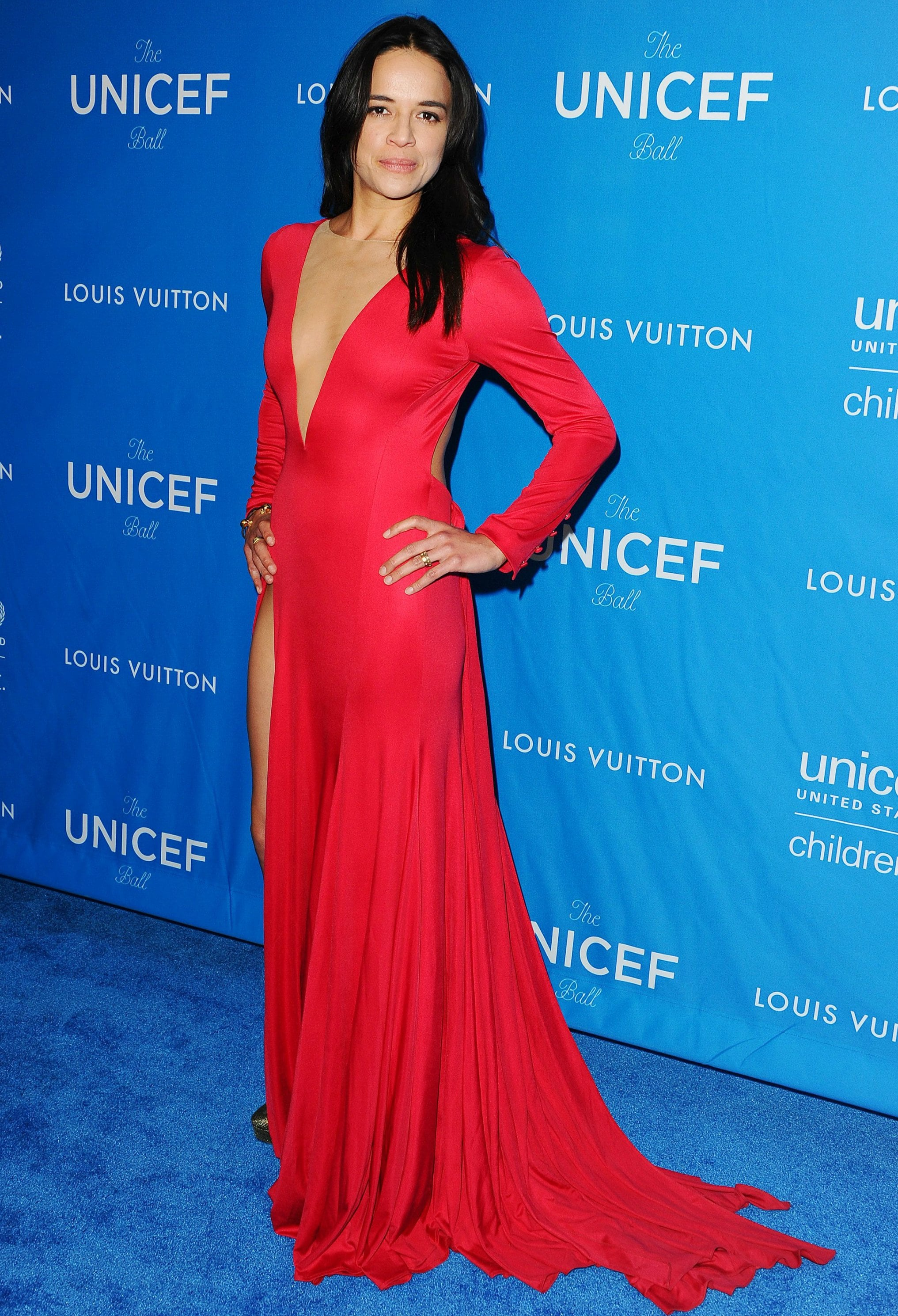 12 January  Michelle Rodriguez channelled old Hollywood glamour in a plunging red gown