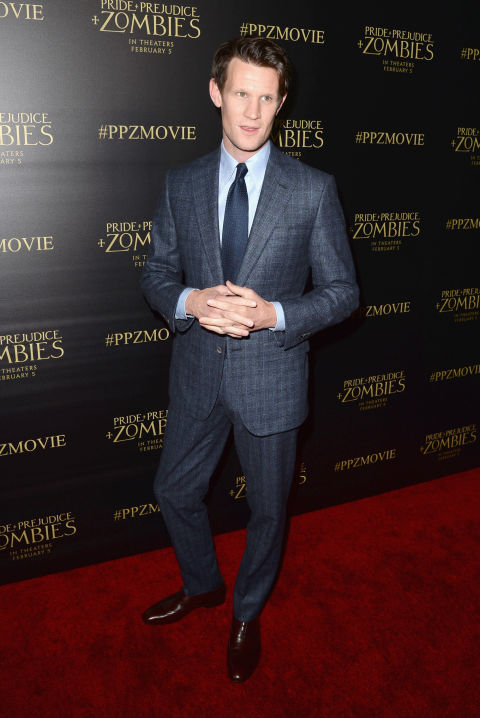 21 January  Matt Smith chose a Thom Sweeney navy checked suit for the premiere.