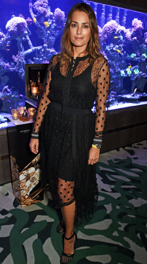 21 January  Yamsin Le Bon opted for a sheer black dress with polka-dot details for a private dinner hosted by Crème de la Mer.