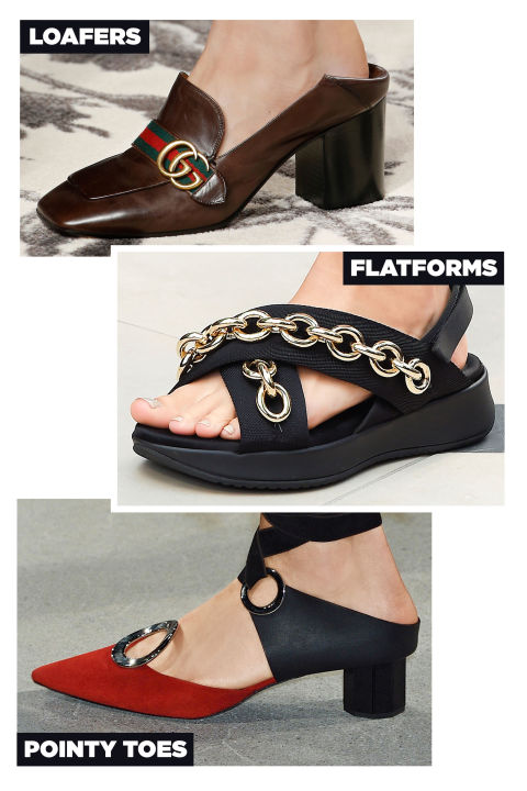 Designers embraced an impressive mix of accoutrements for spring, with Gucci's loafer mules, Proenza Schouler's pointy-toed versions with metal rings, and Burberry Prorsum's chain-trimmed chunky sandals at the head of the class.