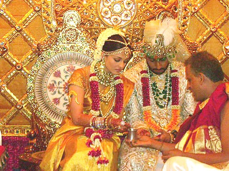 Bollywood stars Aishwarya Rai and Abhishek Bacchan during their wedding