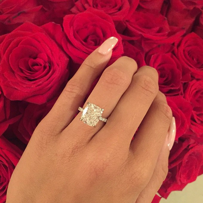 """Draya Michelle's Engagement Ring   Basketball Wives LA star  Draya Michelle said """"yes"""" to Dallas Cowboys cornerback Orlando Scandrick's proposal at the site of their first date, Arclight Cinemas in Sherman Oaks — and to this killer radiant-cut solitaire with a pavé band.  Photo: Draya Michelle via  Instagram"""