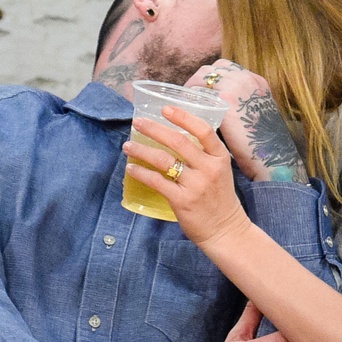 Cameron Diaz's Engagement Ring  It was a blink-and-you'd-miss-it engagement for  Cameron Diaz and Benji Madden . The duo was  married less than one month after the rocker popped the question to the blonde beauty, but we're still ogling at what appears to be her engagement ring! This delicate gold band with a non-traditional hanging diamond seems like the perfect bridal bling for this non-conformist bride.  Photo: Getty Images