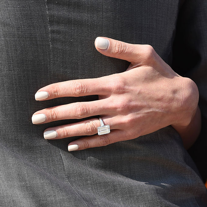Amal Alamuddin-Clooney's Engagement Ring   George Clooney's retreat from eternal bachelorhood shocked the world, but his gorgeous and incredibly smart new wife seems to be his perfect match. To solidify their union, Clooney gave Amal a  huge emerald-cut diamond engagement ring.  Photo: Getty Images