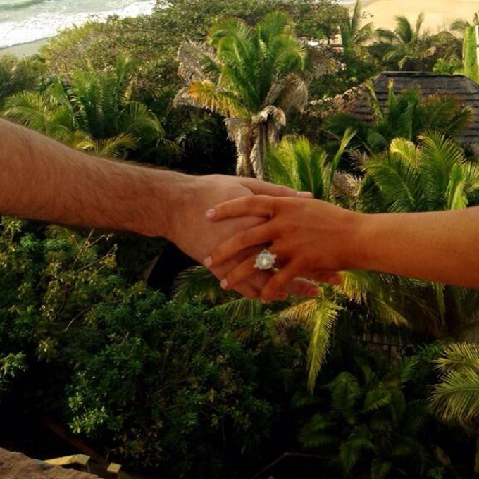 Christina Aguilera's Engagement Ring  Pregnant-and-engaged star Christina Aguilera  flaunted her bridal bling while on vacation with fiancé Matthew Rutler in February 2014. Rutler apparently spent an entire year custom-designing the ornate ring, which features a symbolic intertwining band and diamonds.  Photo: Christina Aguilera via Twitter