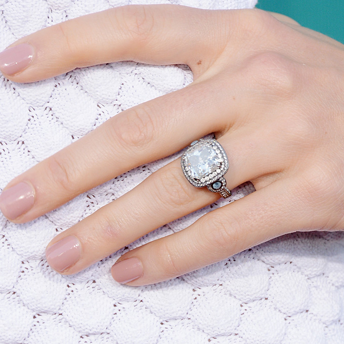 Jessica Biel's Engagement Ring   Jessica Biel's once elusive engagement ring from love Justin Timberlake features a slightly rounded square-cut diamond surrounded by two rows of smaller stones. Notable details include scrolling rope-style sides and the use of blackened platinum, which creates a unique, vintage effect.  Photo: Getty Images