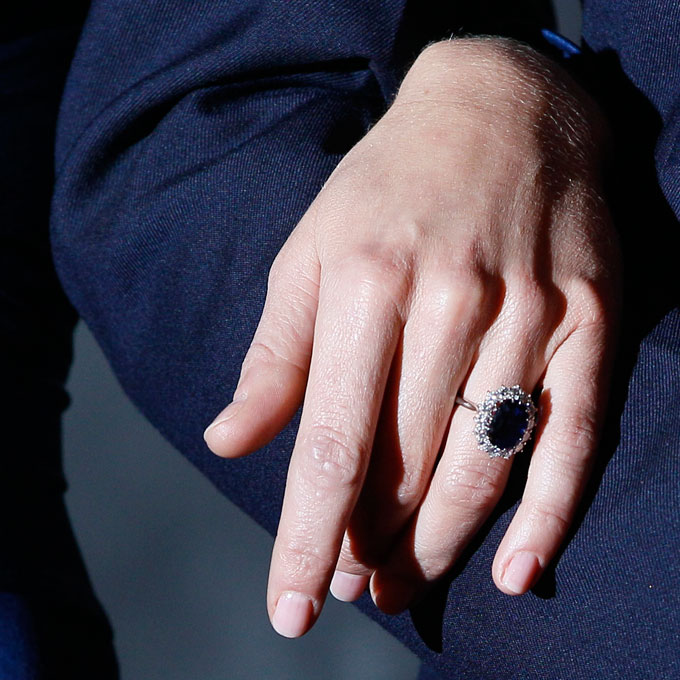 Kate Middleton's Engagement Ring  Prince William's mother, the late Princess Diana, was the first to wear this giant blue sapphire and diamond ring. Now it's the most famous heirloom engagement ring on the planet.  Photo: Press Association via AP Images