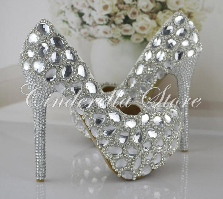 Silver Rhinestone  High-heeled Wedding Shoes The Bride Signle Shoes Pumps Size 34-43 Bridesmaids Shoes