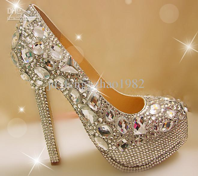 Unique Sparkling Crystal Diamond Wedding Bridal Shoes High Heels Waterproof Sandal Party Prom Shoes