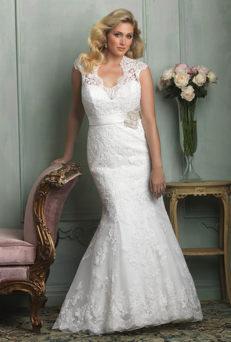 Photo: Courtesy of Allure Bridals    Style W330, lace and tulle wedding dress, price upon request,  Allure Bridals     See more Allure Bridals wedding dresses.