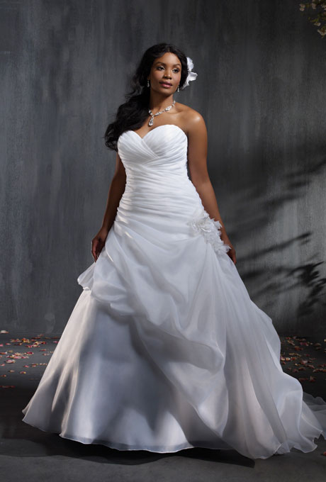 Photo: Courtesy of Alfred Angelo    Style 2353, satin organza wedding dress with rhinestones, crystal beading, taffeta and organza flowers, $1,099,  Alfred Angelo     See more Alfred Angelo wedding dresses.