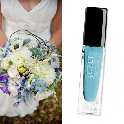 "Take a cue from the sky with ""Something Blue""- a soft blue creme by Julep   ($10;   julep.com  )- a whimsical pairing for this natural fresh-picked bouquet of blossoms and berries by Hatch Creative Studio (  hatchcreativestudi    SOURCE"