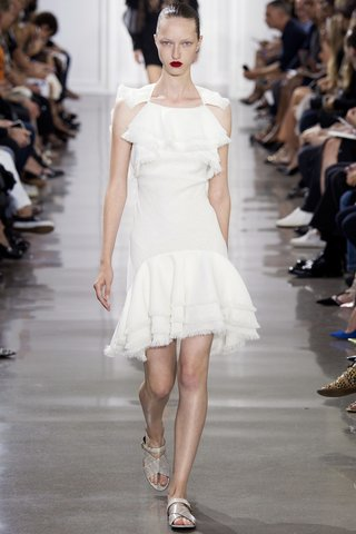 Jason Wu   The young designer adds texture through sheared trim on a girly frock.  Photo: Indigitalimages.com