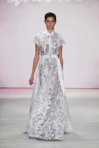 Lela Rose   A shirtdress gets a metallic makeover for a shining moment down the aisle.  Photo: Courtesy of Lela Rose