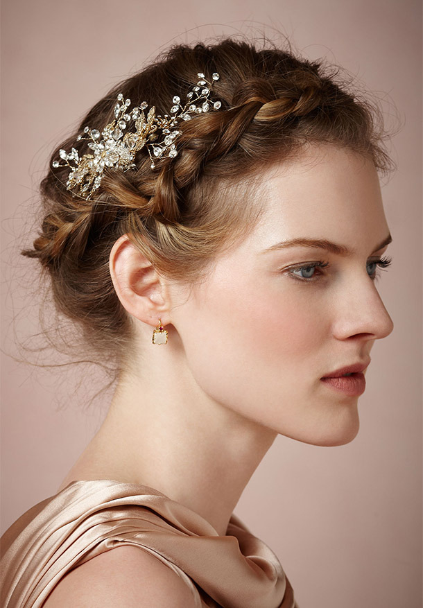 BHLDN Silvestre Comb ($180,  bhldn.com )  Both sweetly bohemian and classically romantic, this large Swarovski crystal comb is the perfect accent to a loose  braided updo  or soft waves