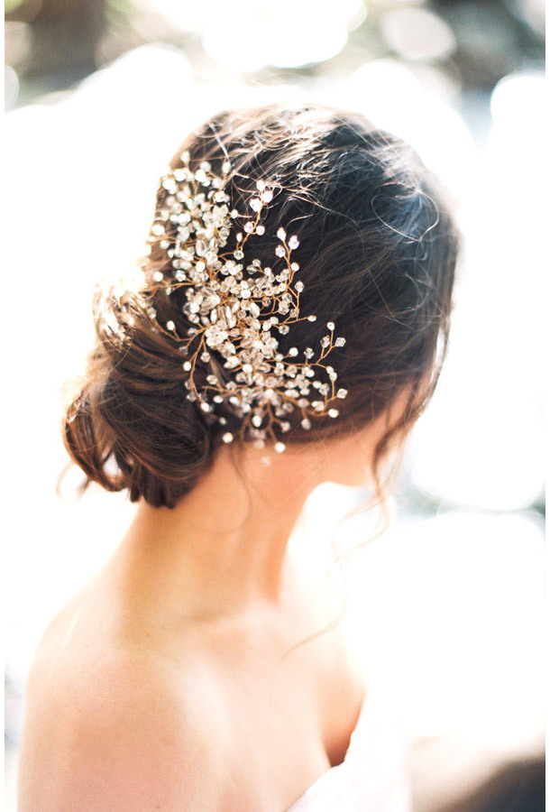 Bride La Boheme Ferax Bridal Headpiece ($16,  etsy.com )  With glittering crystals and gilded wire, this headpiece looks absolutely gorgeous with a loose updo.  Read more from Daily Makeover:  Wedding Hair Ideas You Can Do Yourself      Read more:  http://dailymakeover.com/wedding-headpieces/#ixzz3oGQ9xkCQ