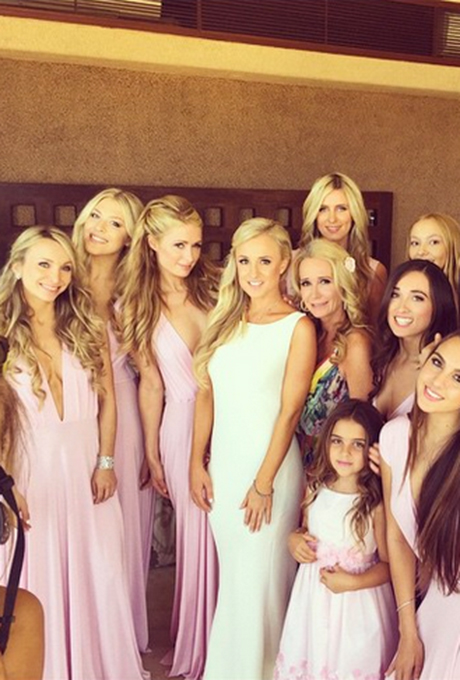 """That's hot. Yes, we're talking about Paris Hilton's daring, low-cut lilac bridesmaid dress she recently wore for her cousin Brooke Brinson's Mexico wedding! Paris, along with other famous 'maids including sister Nicky and cousins Farrah, Sophia, Alexia, and Portia (you know them as Kyle Richards's daughters on  The Real Housewives of Beverly Hills ), was every bit the supportive bridesmaids for the big day. """"Brooke's wedding! The day is here. Yes! Mexico!"""" she wrote on an Instagram video. We're sure she brought the party at the reception.  Photo: Paris Hilton via  Instagram"""