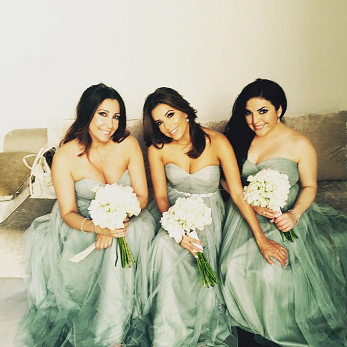 Leave it to the stunning actress to make a standard bridesmaid dress look red carpet-worthy. Longoria rocked a seafoam green Jenny Yoo strapless, floor-length gown for her friend Alina Peralta's wedding in Cordoba, Spain, but it was her personal additions that made it really stand out — a bedazzled belt and the relatable way she took off her heels to walk the cobblestone streets!  Photo: Eva Longoria via  Instagram
