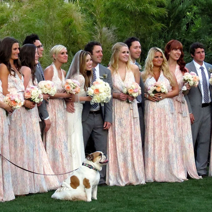 If she didn't have a booming career, we'd suggest that Jessica Simpson take on a side job as a professional bridesmaid. In the past few years, she's been a 'maid for her sister Ashlee, her BFF Cacee Cobb, several other close friends, and her assistant. The most memorable moment was when, three years ago, she  wore this gorgeous printed maxi dress for a friend's wedding in Palm Springs . Her burgeoning baby bump is pretty much the only thing that could've distracted us from Adam Brody's presence as a groomsman.  Photo: Adam Brody via  Tumblr