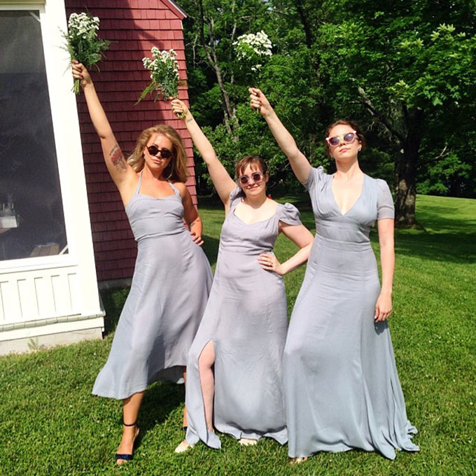 The  Girls star played the part of jubilant, supportive friend at  her pal Isabel Halley's wedding last June . The actress and director shared snaps of her posing with the bridal party and nuzzling into the bride's neck, all while wearing a lovely Reformation bridesmaid dress.  Photo: Audrey Gelman via  Instagram