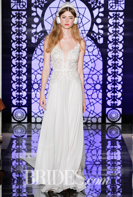 Embroidered wedding dress with plunging neckline and silk chiffon skirt,  Reem Acra    Photo: Luca Tombolini and Alberto Maddaloni /  Indigitalimages.com