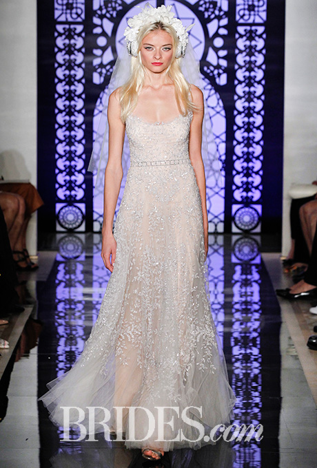 Blush embroidered illusion tank wedding dress, Reem Acra    Photo: Luca Tombolini and Alberto Maddaloni / Indigitalimages.com