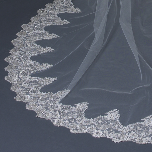 "Beautiful single layer cathedral length bridal veil with a pale silver shimmering embroidered scalloped floral rose edge accented with rhinestones & pearls.  Length: 108"" inch long x 71"" inch wide"