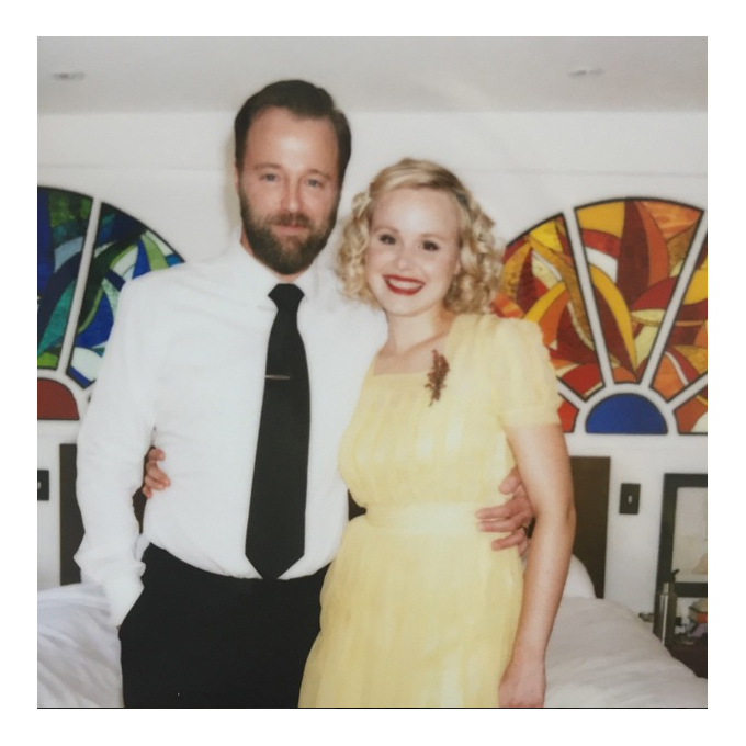 Photo: Alison Pill via   Instagram    Alison Pill   For her Memorial Day wedding weekend, Alison Pill opted for a retro look, rocking a sunflower yellow vintage dress with short sleeves, a square neckline, and ruffles along the bodice. The ankle-length gown was complemented by Pill's pitch-perfect tight ringlets and bright red lip.