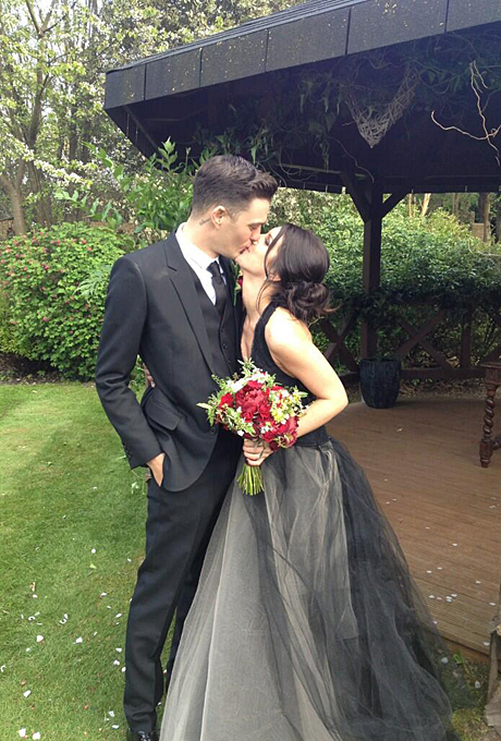 Photo: Shenae Grimes via   Twitter    Shenae Grimes   Grimes played a high school student on the reboot of  90210 , but the  Vera Wang dress she wore to marry fiancé Josh Beech in May 2013 was anything but childlike. For their London wedding, Grimes walked down the aisle in a black gown with a tulle skirt and halter neckline paired with romantic-goth touches including a red rose bouquet and brooch-accented updo.