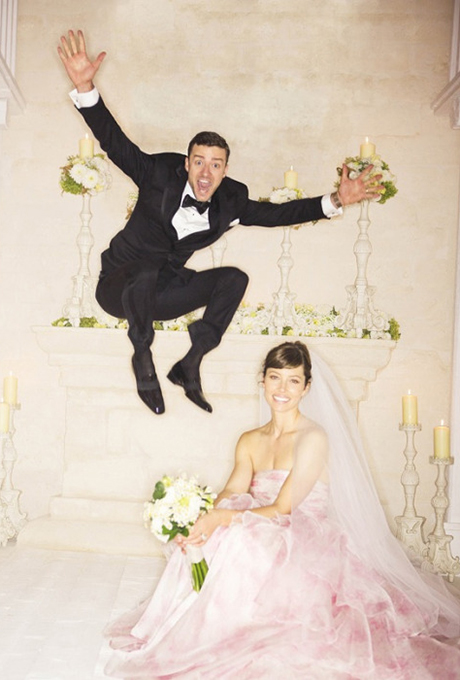 Photos: via   Tumblr    Jessica Biel   Many were shocked Biel didn't wear white to marry Justin Timberlake in Puglia, Italy in October 2012, but the actress stunned in a voluminous,  petal-pink Giambattista Valli wedding dress . The custom-made creation echoed a different design from Valli's spring 2012 haute couture collection. Biel made the look bridal by swapping the runway's red color for the more feminine hue and toning down the dramatic silhouette — her Audrey Hepburn-esque hairstyle and flowing veil helped as well.