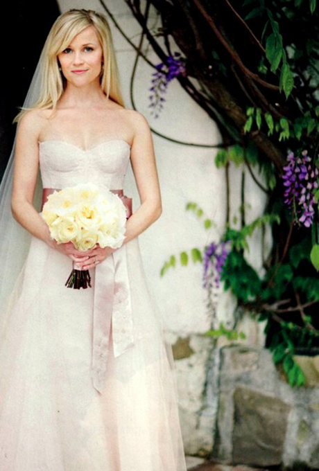 Photos: via   Tumblr    Reese Witherspoon   Hollywood's resident Southern belle looked every bit the sweet Tennessee girl in a custom blush Monique Lhuillier wedding dress  when she married Jim Toth in March 2011. Also worth noting: Her bridal gown matched the maid-of-honor dress Lhuillier designed for Witherspoon's daughter Ava.