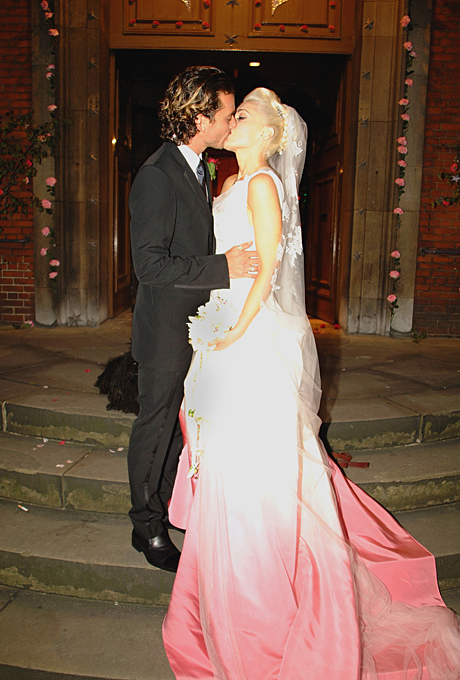 Photo: Gwen Stefani    Gwen Stefani   Stefani is one of the most fashionable women of all time — and her wedding day was no exception. John Galliano custom designed the iconic dip-dyed silk faille Dior dress, which Stefani wore to marry Gavin Rossdale in London in September 2002. The pretty-meets-punk wedding dress was the perfect choice for the rockstar