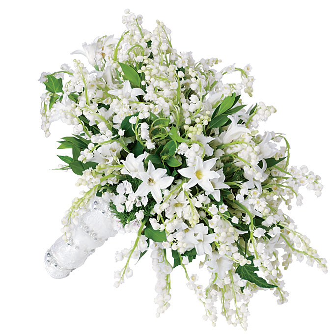 "Photo: Diane Fields   The Bouquet  Brides loved Kate's shield-shaped clutch of lilies of the valley, sweet williams, hyacinths, and myrtle. But the price? Not so much. ""Everyone wants lily of the valley in the mix,"" says Donna O'Brien of Philadelphia's Beautiful Blooms. ""But they can't afford a whole bouquet of it—it's too expensive."" Instead, says New York event designer Jes Gordon, cost-conscious customers are subbing in less pricey blooms, like andromedas, mini calla lilies, and white lilacs.   Bouquet of lilies of the valley, sweet williams, and hyacinths, $1,000,  Beautiful Blooms     Browse photos of white wedding bouquets in our gallery."