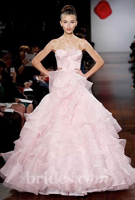 Austin Scarlett   Gown by  Austin Scarlett     Browse more pink wedding dresses.   Photo: John Aquino