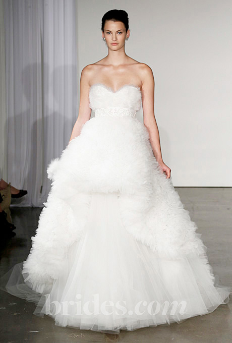 Marchesa   Gown by  Marchesa     Browse more Marchesa wedding dresses.   Photo: George Chinsee