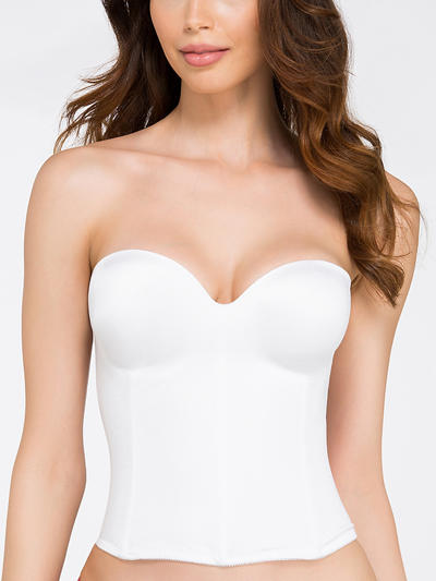 The essential: A bra with grips on the inside is one possible solution to the elusive slipping strapless bra; another answer is the longline bra. This is a bra that's attached to a corset-like bodice, which gives it more support against slippage since it wraps around your waist.  Dominique longline smooth strapless bra, $71, BareNecessities.com