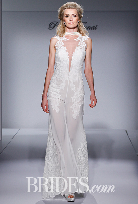 """""""Style 4453"""" ivory, silk, chiffon jumpsuit with lace appliques and illusion back, Pnina Tornai for Kleinfeld    Photo: Gerardo Somoza / Indigitalimages.com"""