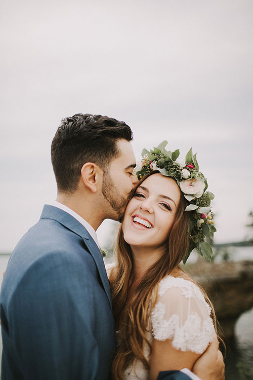 After the I do's, Megan swapped her mother's veil for a lush flower crown.