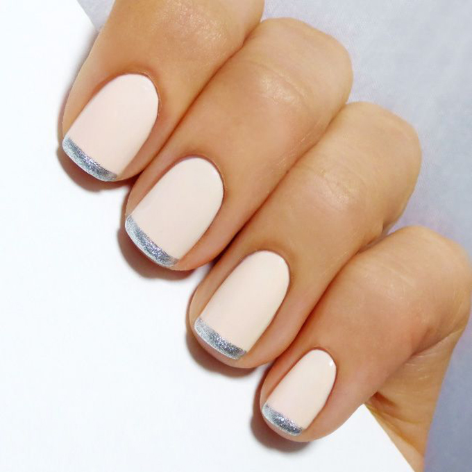 A blush pink French manicure with silver tips.  Photo: Naomi Sinnett via  Pinterest