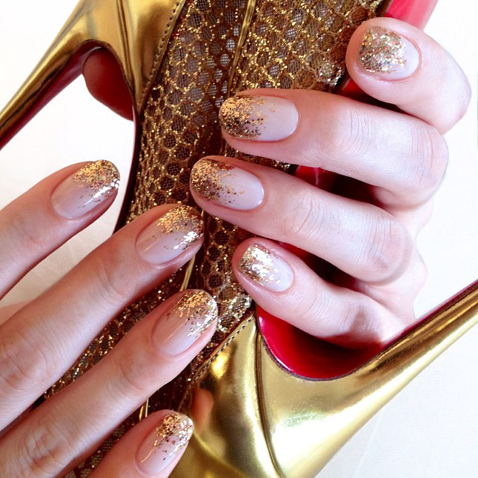 A nude manicure with gold sparkles.  Photo: Jin Soon Choi via  Instagram