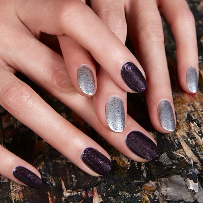 An alternating black-and-silver manicure.  Photo: Jin Soon Choi via  Instagram
