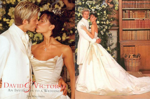 It feels a little weird when we use Victoria's maiden name since we're now all so used to calling her Victoria Beckham. But her wedding to football star David Beckham was also one of the most talked about in the world since the Spice Girls were formed. Their wedding in 1999 was set in a castle in Ireland. Posh wore a very beautiful Vera Wang wedding gown as well as a gold crown.